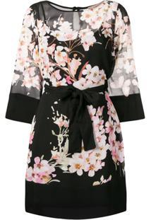 Twin-Set Floral Print Dress - Preto
