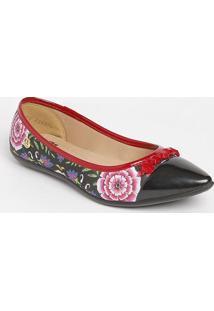 Sapatilha Floral Com Recorte- Preta & Vermelhacarmen Steffens