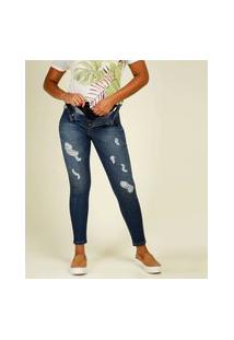 Calça Jeans Destroyed Skinny Feminina Super Lipo Sawary