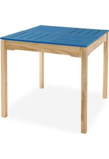 Mesa Gourmet Compacta De Madeira Maciça Taeda Natural Com Tampo Colorido Olga – Verniz Natural/Azul 80X80X75Cm