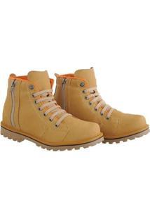 Bota Coturno Sapatofran Zíper Masculino - Masculino-Amarelo