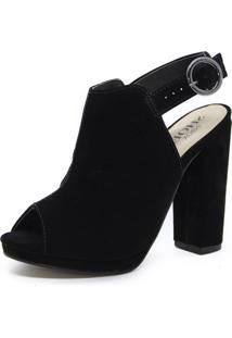 Sandália Shoes Inbox Opoen Back Boot Salto Bloco Preto