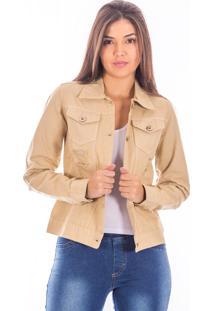 Jaqueta Sisal Jeans Slim Com Botões E Destroyed Areia