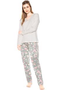 Pijama Pzama Floral Bege