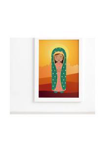 Quadro Nossa Senhora De Guadalupe Moldura Branca 22X32Cm