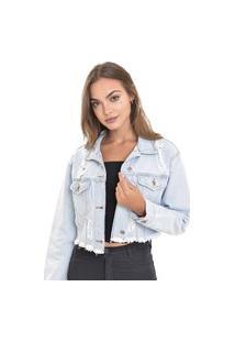 Jaqueta Jeans Dialogo Cropped Com Bolsos E Rasgos Delavê