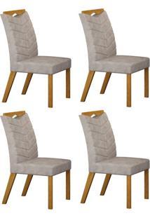 Conjunto Com 4 Cadeiras Verona Imbuia Mel E Cinza