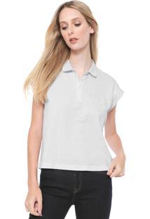 Camisa Polo Calvin Klein Ampla Logo Branca