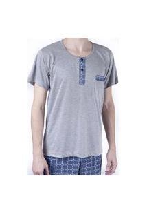 Pijama Masculino Curto Blusa Com Bolso E Botão Shorts Verão - Cinza