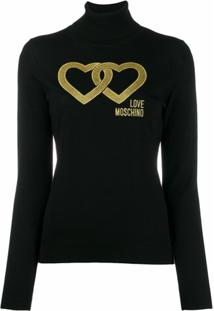 Love Moschino Suéter Linked Heart - Preto
