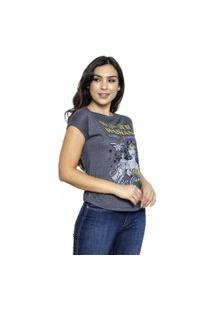 Camiseta Sideway Mulher Maravilha Comics - Cinza/Preto