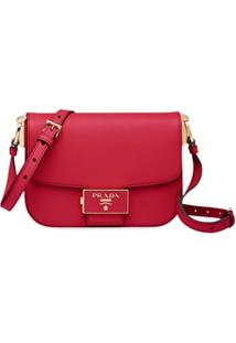 Prada Bolsa Tiracolo Embleme - Vermelho