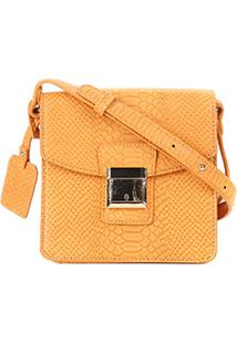 Bolsa Shoestock Mini Bag Crossbody Snake Feminina - Feminino-Mostarda