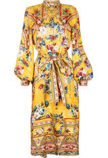 Camilla Chemise Midi Com Estampa Floral - Amarelo