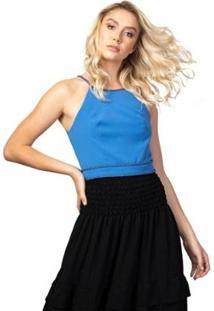 Camiseta Tng Croped Detalhe Cordão Botões Feminina - Feminino-Azul Turquesa