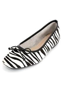 Sapatilha Couro Dali Shoes Animal Print Zebra Preto