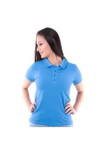 Camisa Polo Regular Em Meia Malha Azul Traymon Cp0719