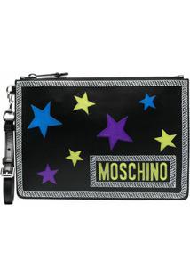 Moschino Clutch Com Logo E Patch De Estrelas - Preto