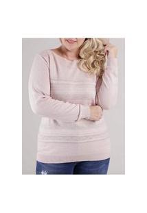 Blusa Tricot Plus Size Feminina Rosa