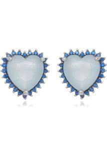 Brinco Blue Heart Di Capri Semi Jóias X Ouro Branco Prata