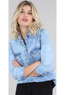Camisa Jeans Feminina Com Bolsos Manga Longa Azul Claro