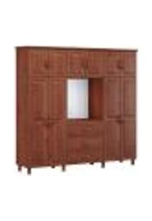 Guarda Roupa Capelao 10 Pts Bipartido Com Espelho 1153T Bronze Imbuia Fnt