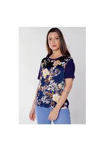 Blusa Estampada Floral Sedinha Com Viscose Under79 Azul Marinho