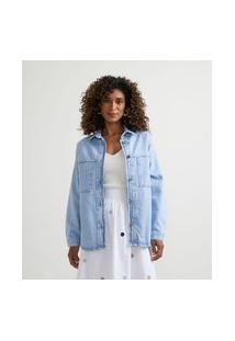Jaqueta Em Jeans Com Bolsos Frontais E Costuras Contrastantes | Marfinno | Azul | M