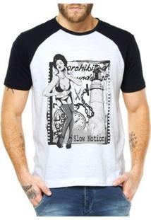Camiseta Criativa Urbana Raglan Sexy Mulher Vintage - Masculino-Branco