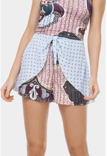 Shorts Cintura Alta Estampado Casa Blanca - Lez A Lez