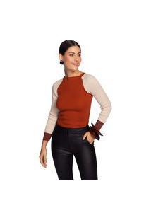Blusa Maria Valentina Decote Redondo Manga Longa Bicolor Vermelho