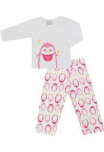 Pijama Longo Feminino Malha Pinguim - Feminino-Branco