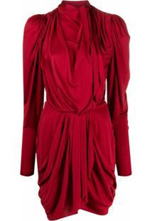 Isabel Marant Vestido Drapeado Com Mangas Longas - Vermelho