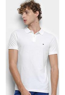 Camisa Polo Tommy Hilfiger Global Stripe Insert Slim Masculina - Masculino-Branco