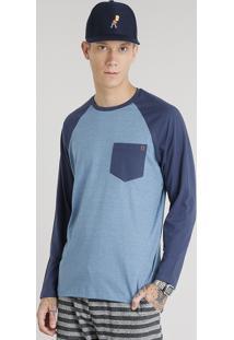 Camiseta Masculina Com Bolso Manga Longa Raglan Gola Careca Azul