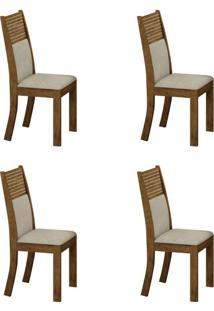 Conjunto Com 4 Cadeiras Havaí Ipê E Metalacê