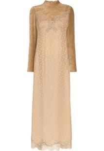Stella Mccartney Vestido De Veludo Com Renda - Neutro