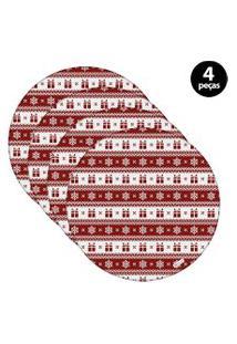 Capa Para Sousplat Mdecore Natal Presente Vermelho 4Pçs