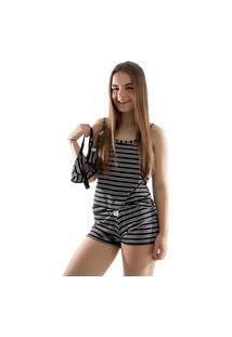 Baby Doll 4 Estações Pijama Listrado Com Calcinha De Brinde Curto Preto
