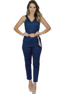 Macaçáo Mamorena Longo Skinny Sarja Azul Marinho - Tricae