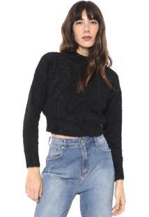 Blusa Cropped Acostamento Tricot Pelo Preta