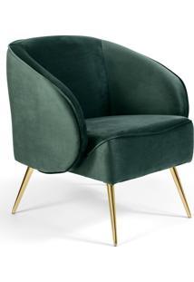 Poltrona Decorativa Fixa Pã©S Palito Metalizado Agnes Veludo Verde B-303 - Lyam Decor - Verde - Dafiti