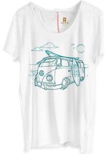 Camiseta Masculina Joss Corte A Fio Kombi On The Beach Branco