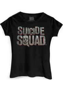 Camiseta Dc Comics Bandup! Esquadrão Suicida Logo - Feminino-Preto