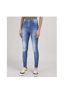Calça Jeans Sawary Lipo Super Skinny Destroyed Cintura Média Azul Médio