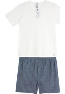 Pijama Masculino Composê Bermuda Botões