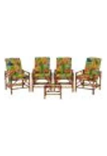 Conjunto Mesa E 4 Cadeiras De Bambu Cancun Para Área Edicula Jardim G19