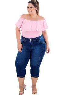 Calça Jeans Latitude Plus Size Cropped Joanine Azul - Tricae