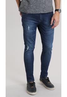 Calça Jeans Skinny Destroyed Azul Escuro