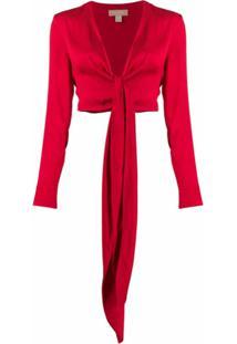 Matériel Blusa Com Amarração Na Cintura - Vermelho
